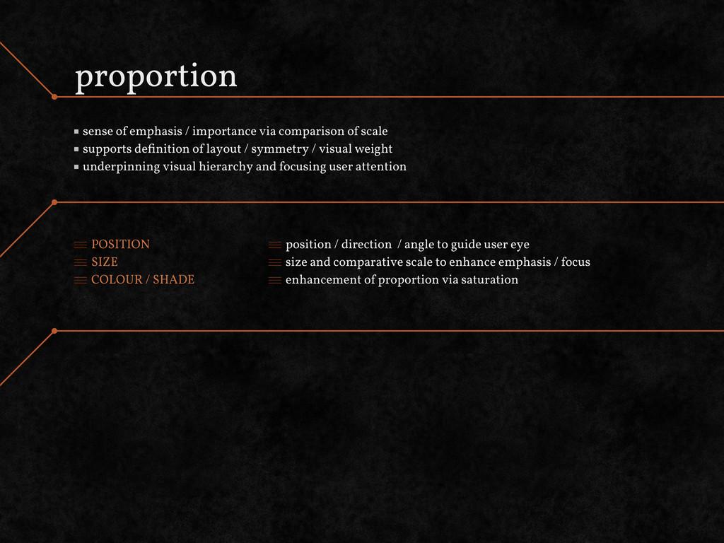 proportion sense of emphasis / importance via c...