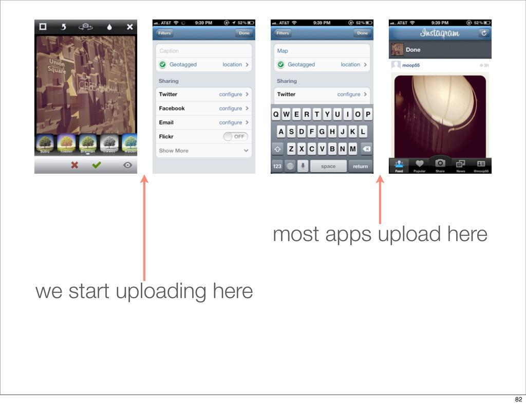 most apps upload here we start uploading here 82