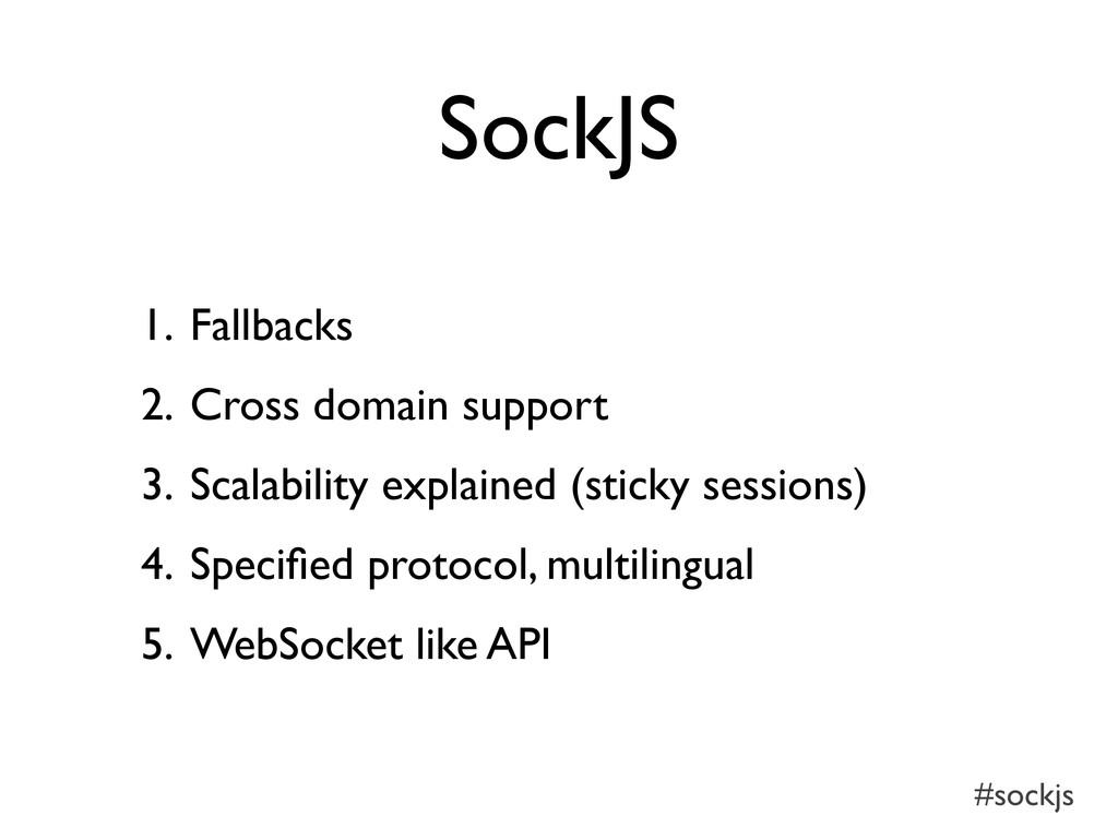#sockjs SockJS 1. Fallbacks 2. Cross domain sup...