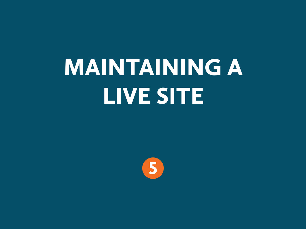 MAINTAINING A LIVE SITE