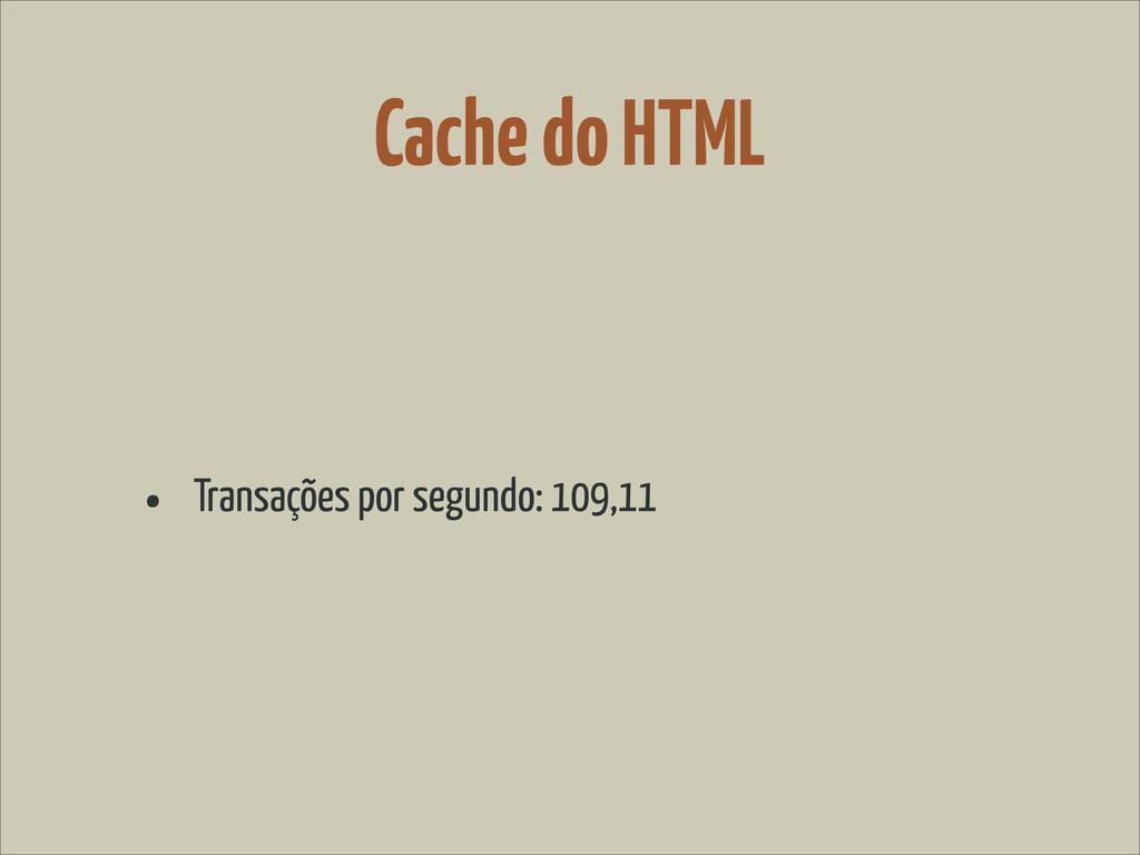 Cache do HTML • Transações por segundo: 109,11