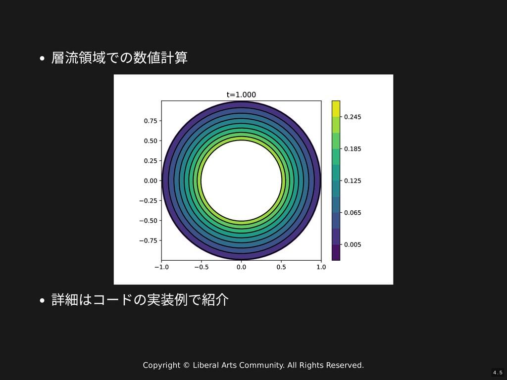 / 層流領域での数値計算 詳細はコードの実装例で紹介 4 . 5 Copyright © Li...