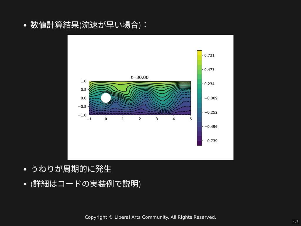 / 数値計算結果( 流速が早い場合) : うねりが周期的に発⽣ ( 詳細はコードの実装例で説明...