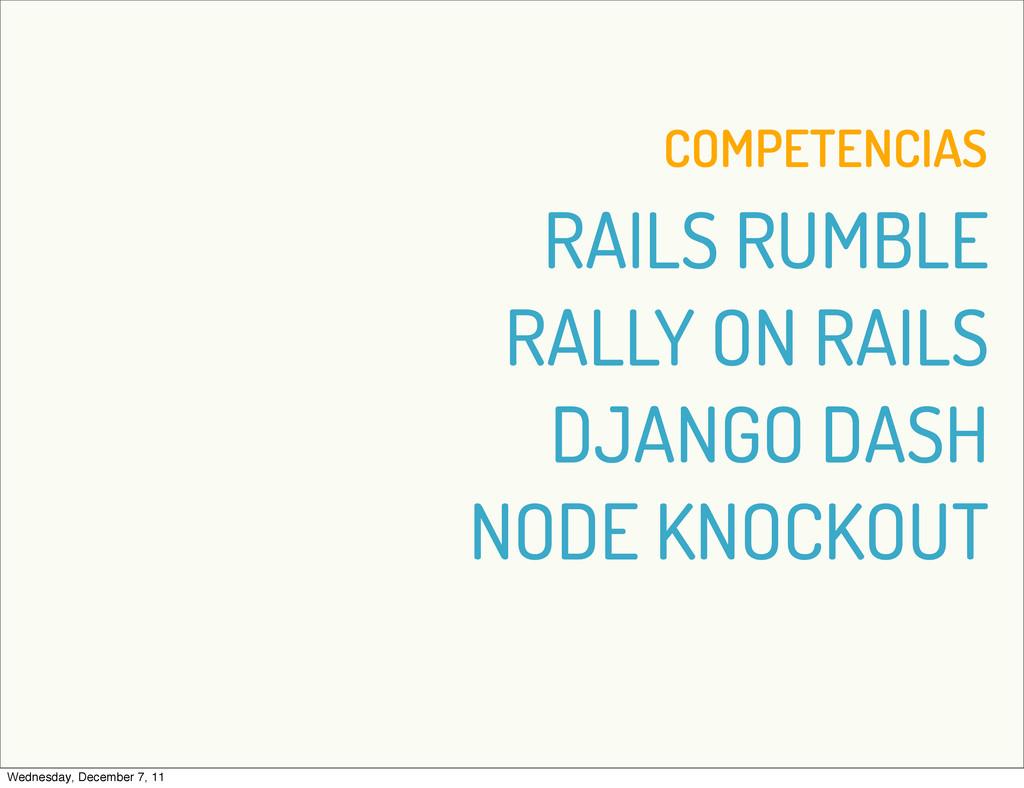 COMPETENCIAS RAILS RUMBLE RALLY ON RAILS DJANGO...