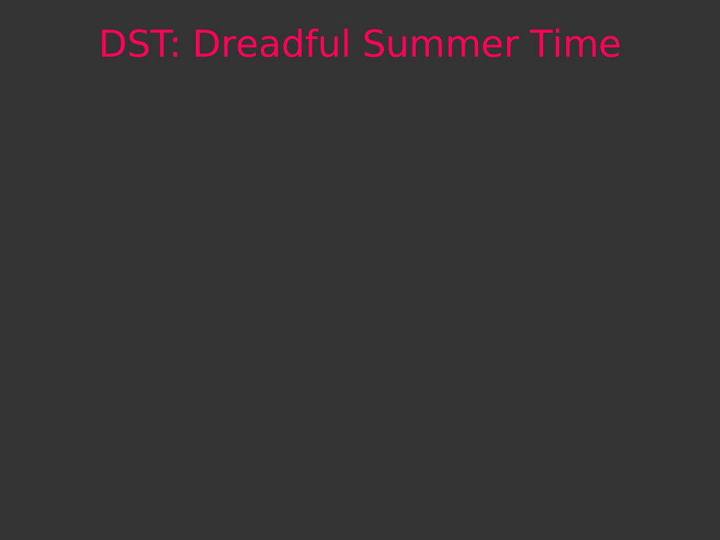 DST: Dreadful Summer Time
