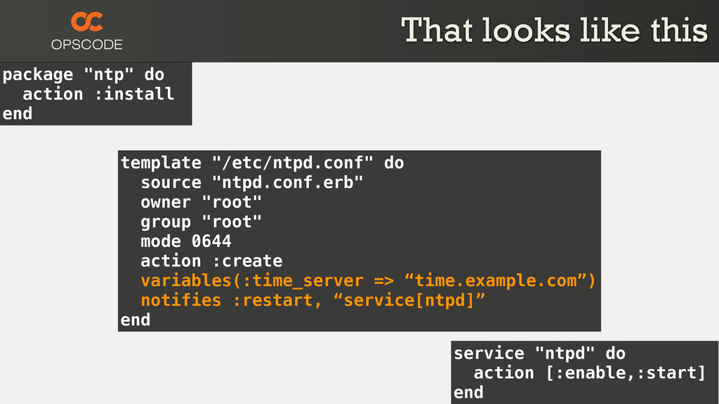 """package """"ntp"""" do action :install end service """"n..."""