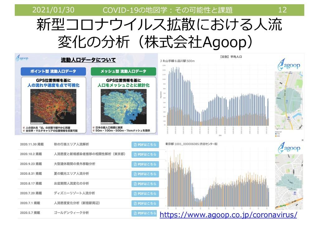 2021/01/30 COVID-19の地図学︓その可能性と課題 12 新型コロナウイルス拡散...