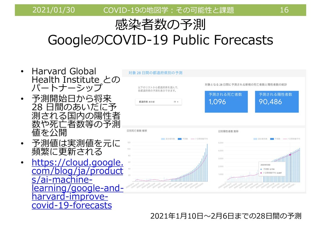 2021/01/30 COVID-19の地図学︓その可能性と課題 16 感染者数の予測 Goo...
