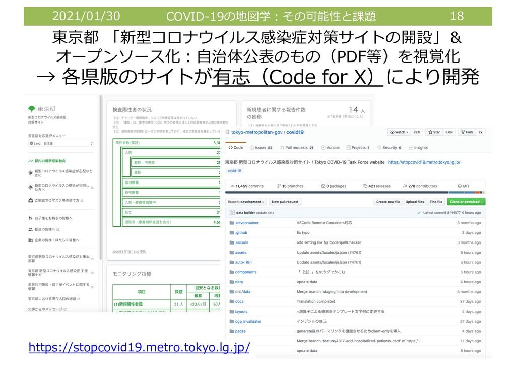 2021/01/30 COVID-19の地図学︓その可能性と課題 18 東京都 「新型コロナウ...