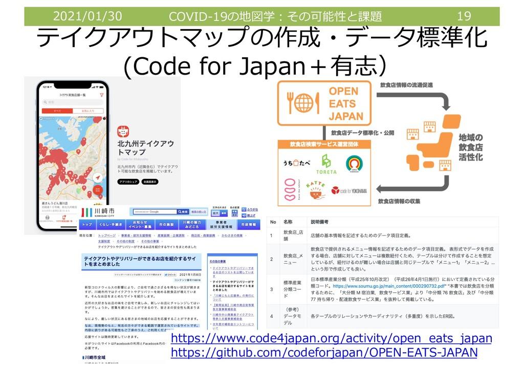 2021/01/30 COVID-19の地図学︓その可能性と課題 19 テイクアウトマップの作...