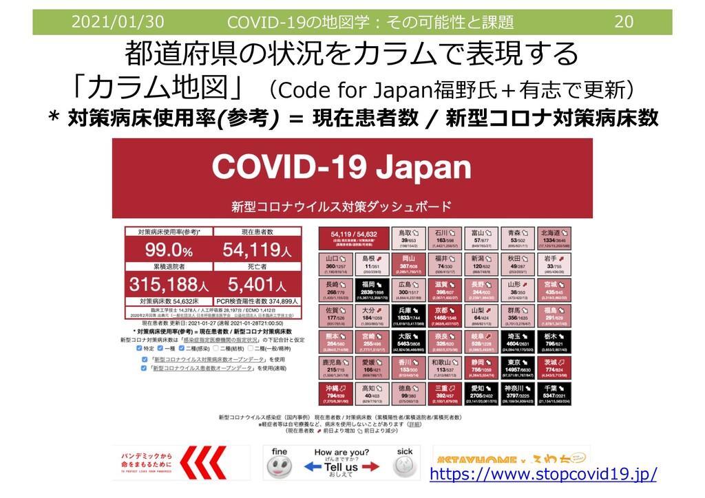 2021/01/30 COVID-19の地図学︓その可能性と課題 20 都道府県の状況をカラム...