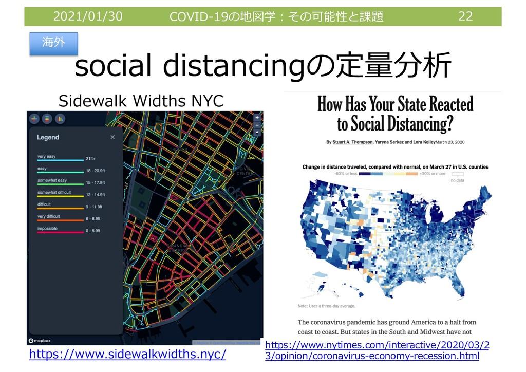 2021/01/30 COVID-19の地図学︓その可能性と課題 22 social dist...