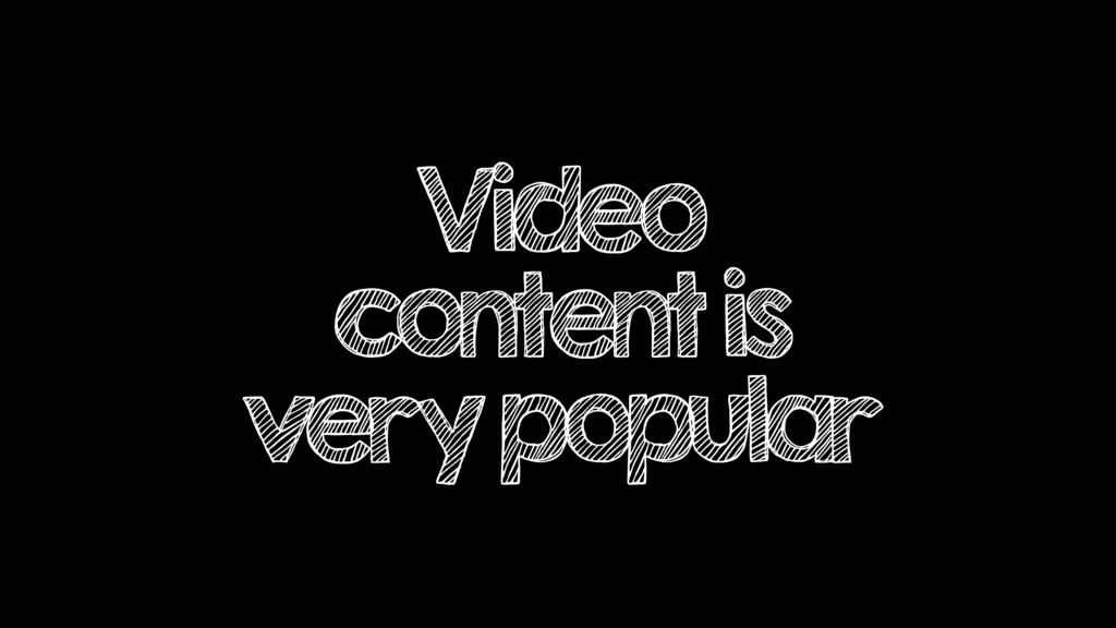 Video content is very popular