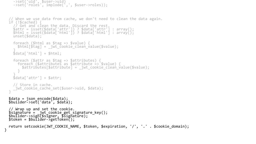 ->set('uid', $user->uid) ->set('roles', implode...