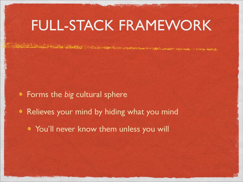 FULL-STACK FRAMEWORK Forms the big cultural sph...
