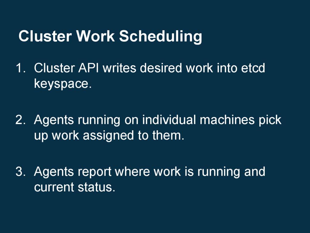 Cluster Work Scheduling 1. Cluster API writes d...