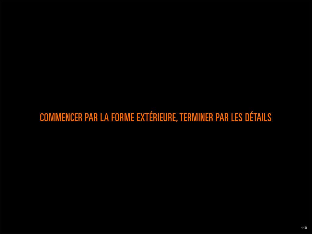 110 COMMENCER PAR LA FORME EXTÉRIEURE, TERMINER...
