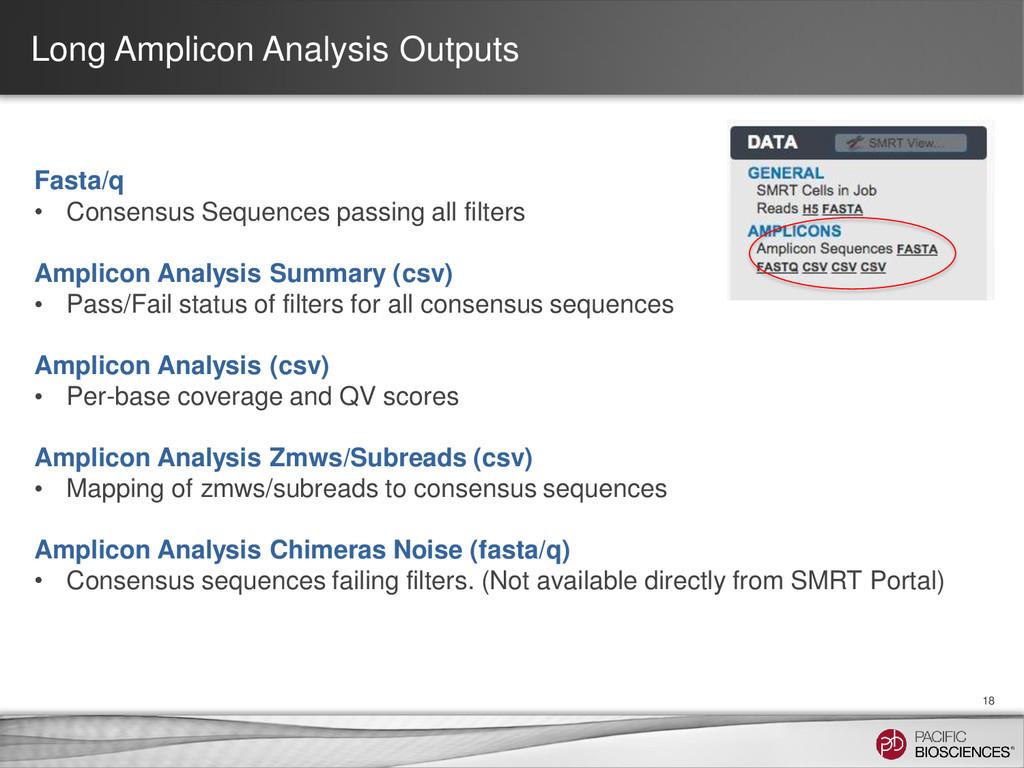 Long Amplicon Analysis Outputs 18 Fasta/q • Con...