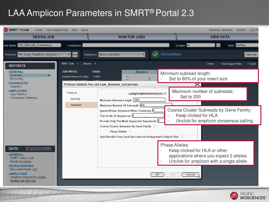 LAA Amplicon Parameters in SMRT® Portal 2.3 Min...
