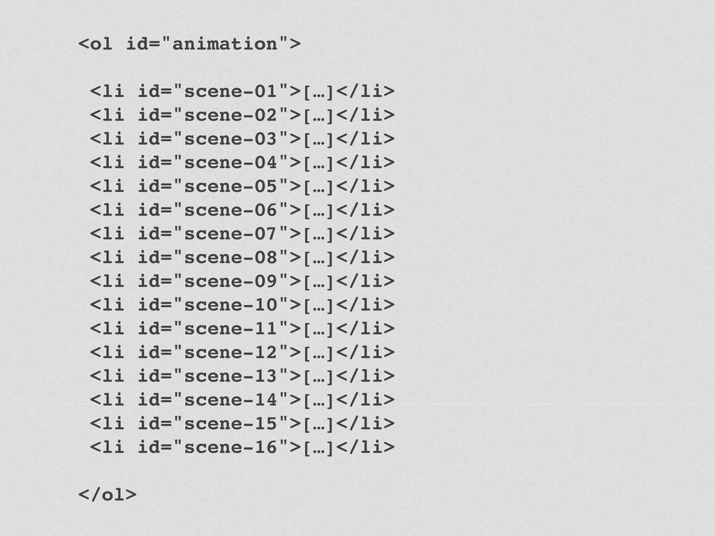 """<ol id=""""animation""""> <li id=""""scene-01"""">[…]</li> ..."""