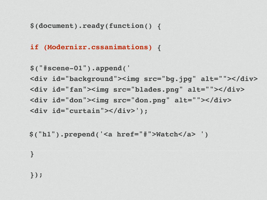 $(document).ready(function() { ! if (Modernizr....