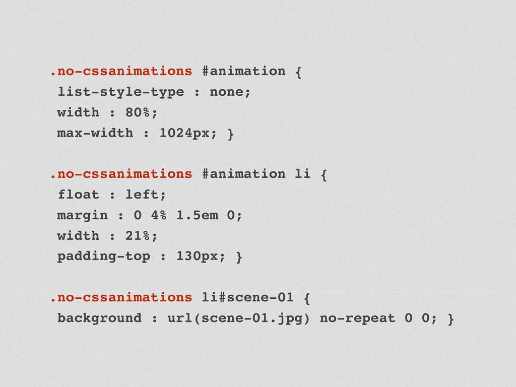 .no-cssanimations #animation { list-style-type ...