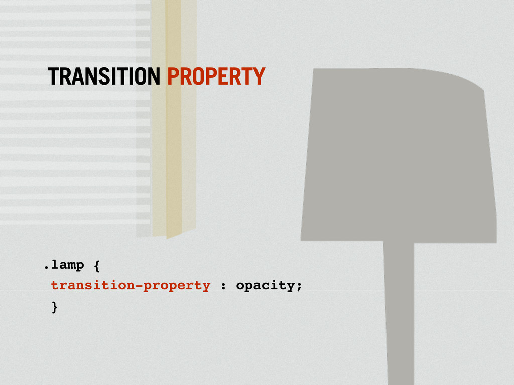 .lamp { transition-property : opacity; } TRANSI...