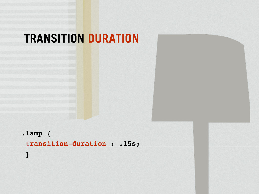.lamp { transition-duration : .15s; } TRANSITIO...
