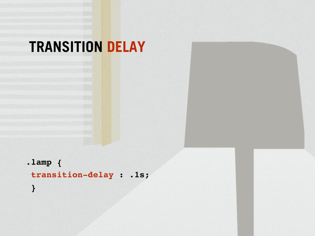 .lamp { transition-delay : .1s; } TRANSITION DE...