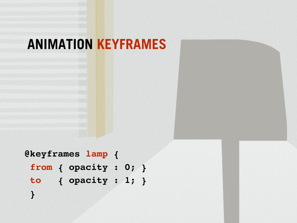 @keyframes lamp { from { opacity : 0; } to { op...