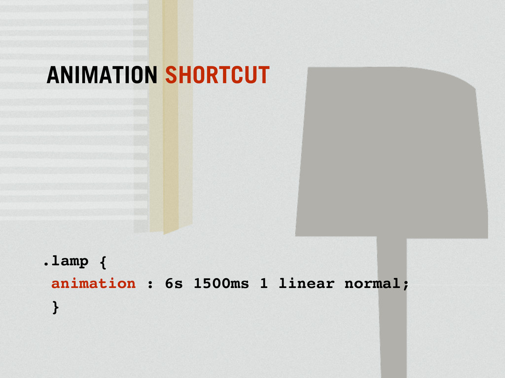 .lamp { animation : 6s 1500ms 1 linear normal; ...