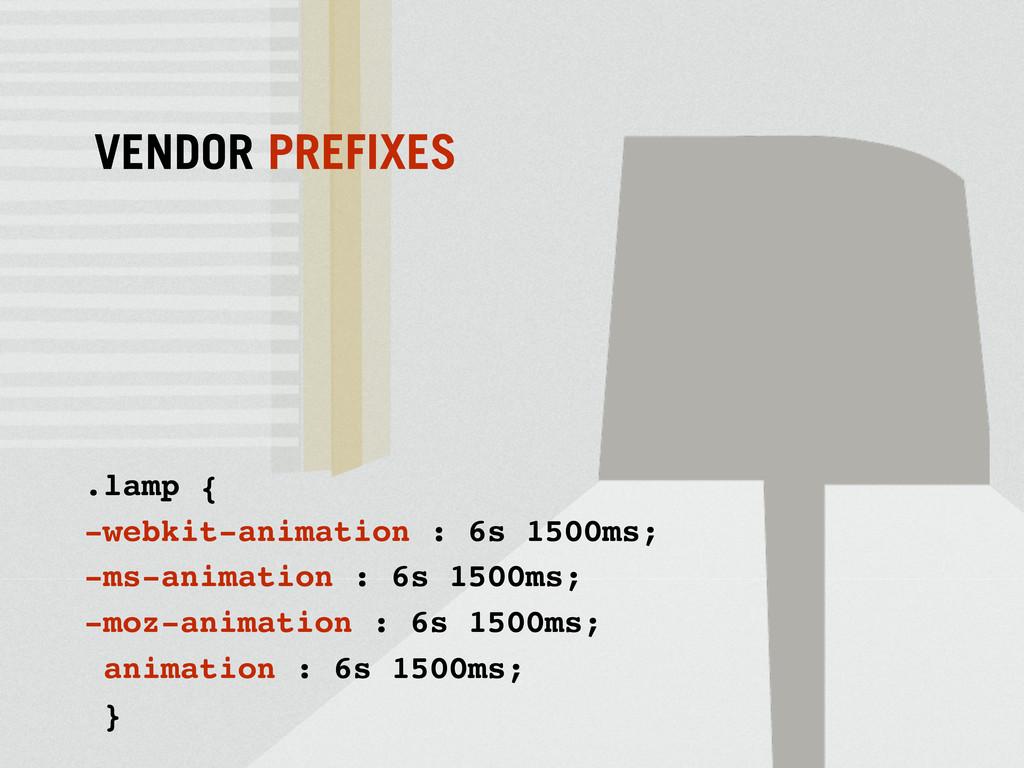 VENDOR PREFIXES .lamp { -webkit-animation : 6s ...