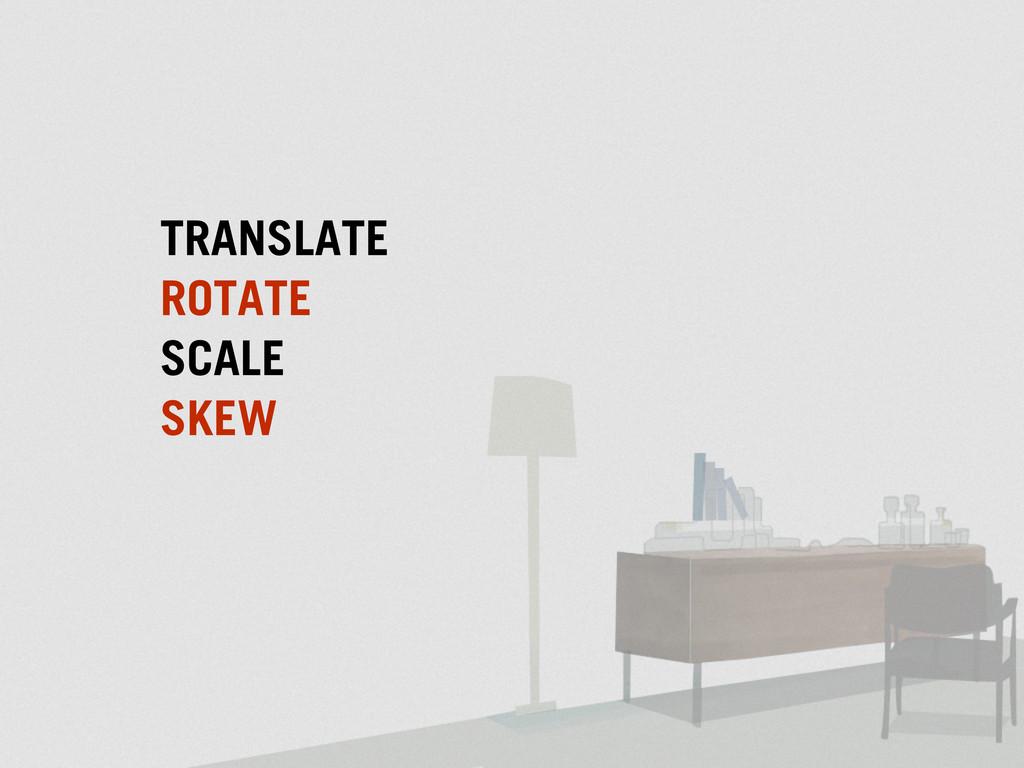 TRANSLATE SCALE ROTATE SKEW