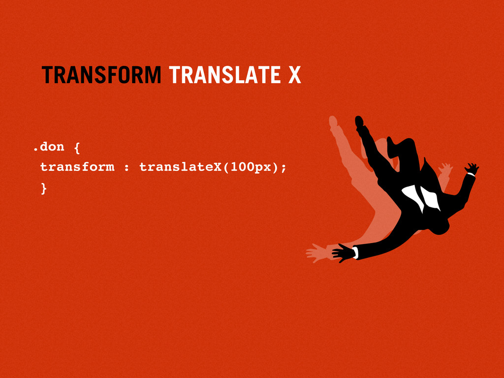 TRANSFORM TRANSLATE X .don { transform : transl...