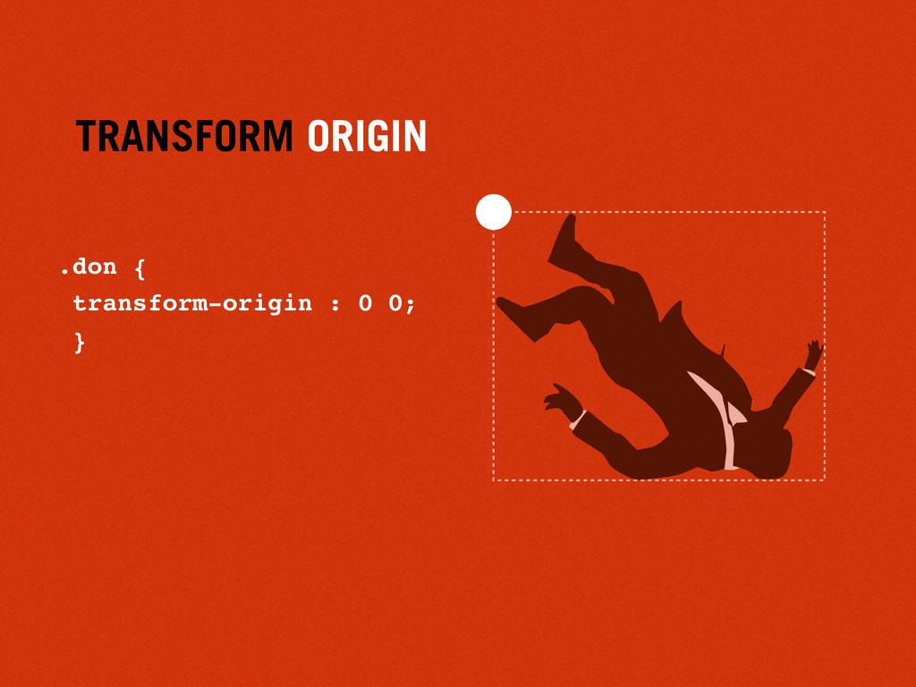 TRANSFORM ORIGIN .don { transform-origin : 0 0;...