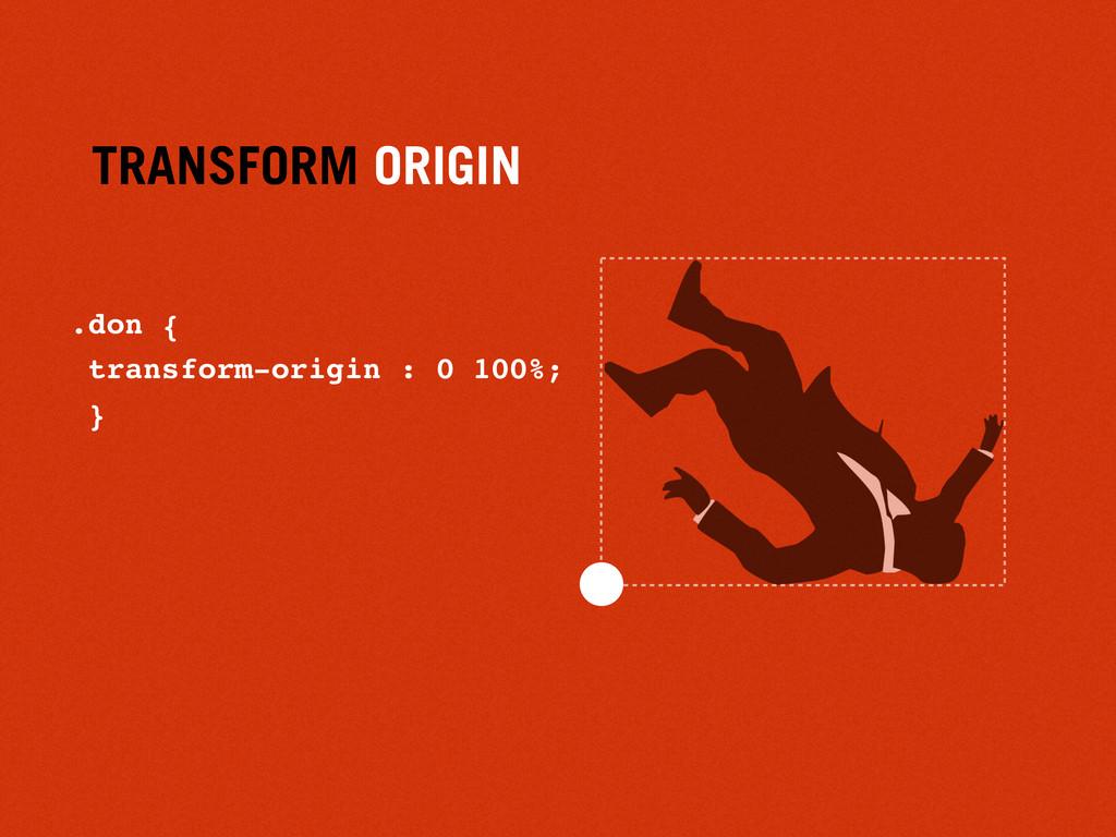 TRANSFORM ORIGIN .don { transform-origin : 0 10...