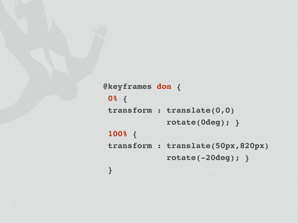 @keyframes don { 0% { transform : translate(0,0...