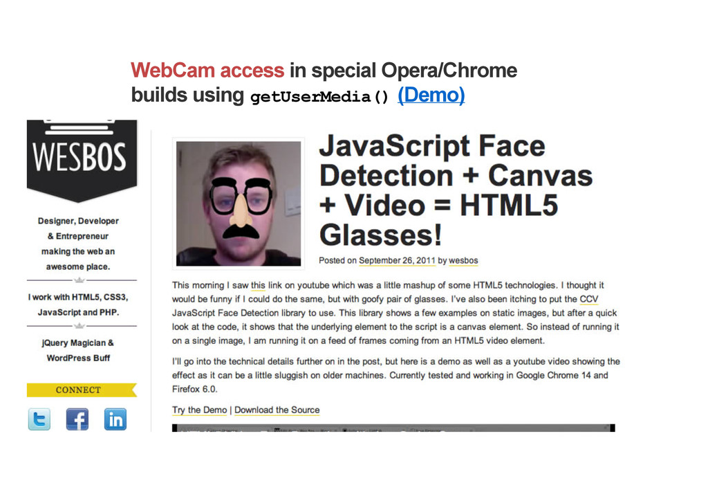 WebCam access in special Opera/Chrome builds us...