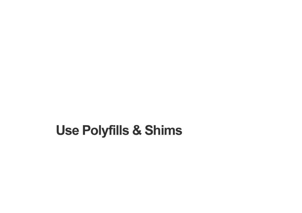 Use Polyfills & Shims