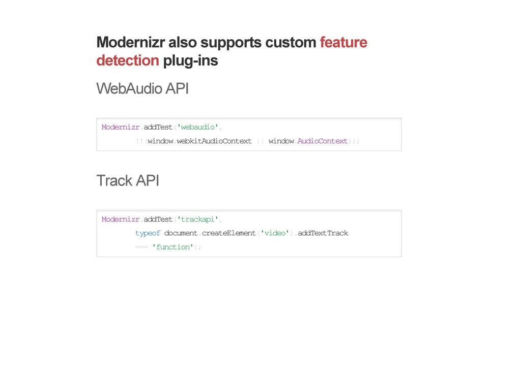 Modernizr also supports custom feature detectio...