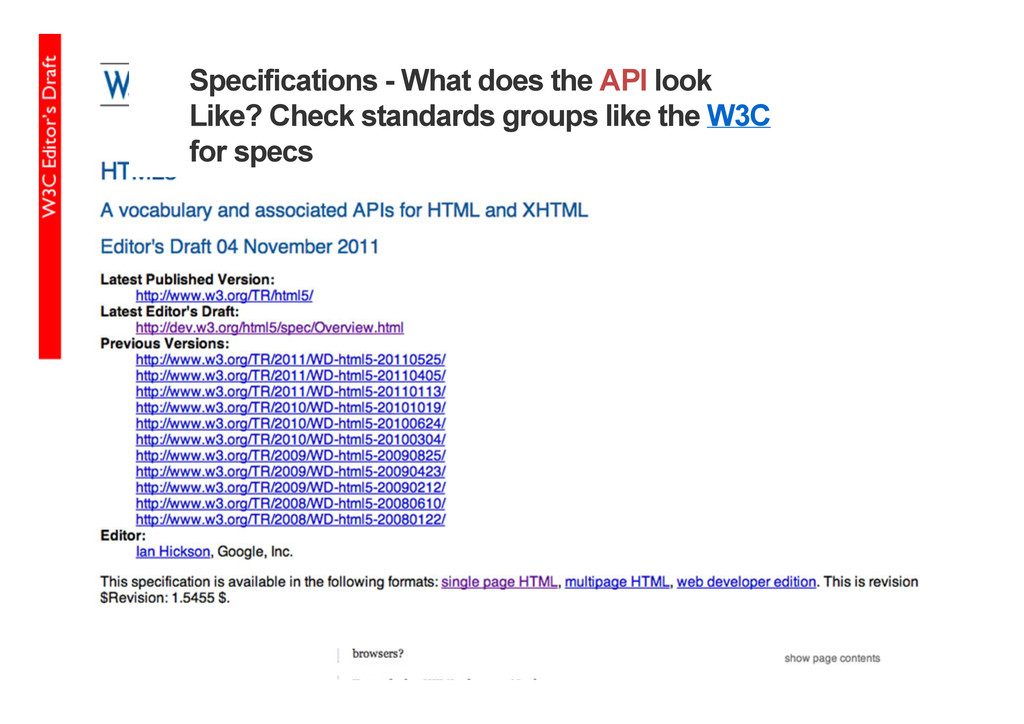 Specifications - What does the API look Like? C...