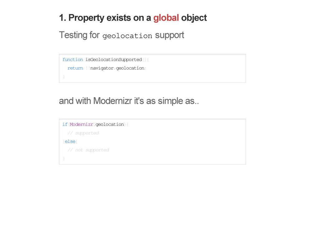 1. Property exists on a global object Testing f...