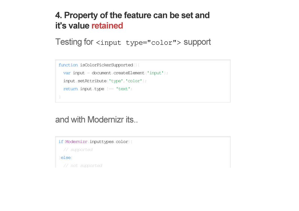 4. Property of the feature can be set and it's ...