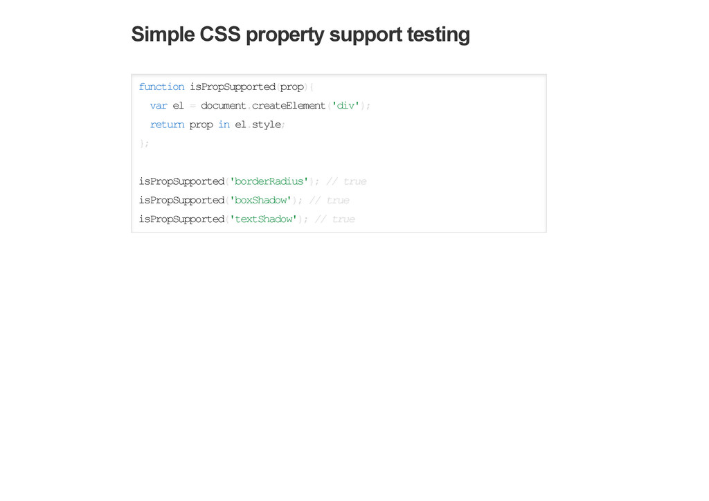 Simple CSS property support testing function is...