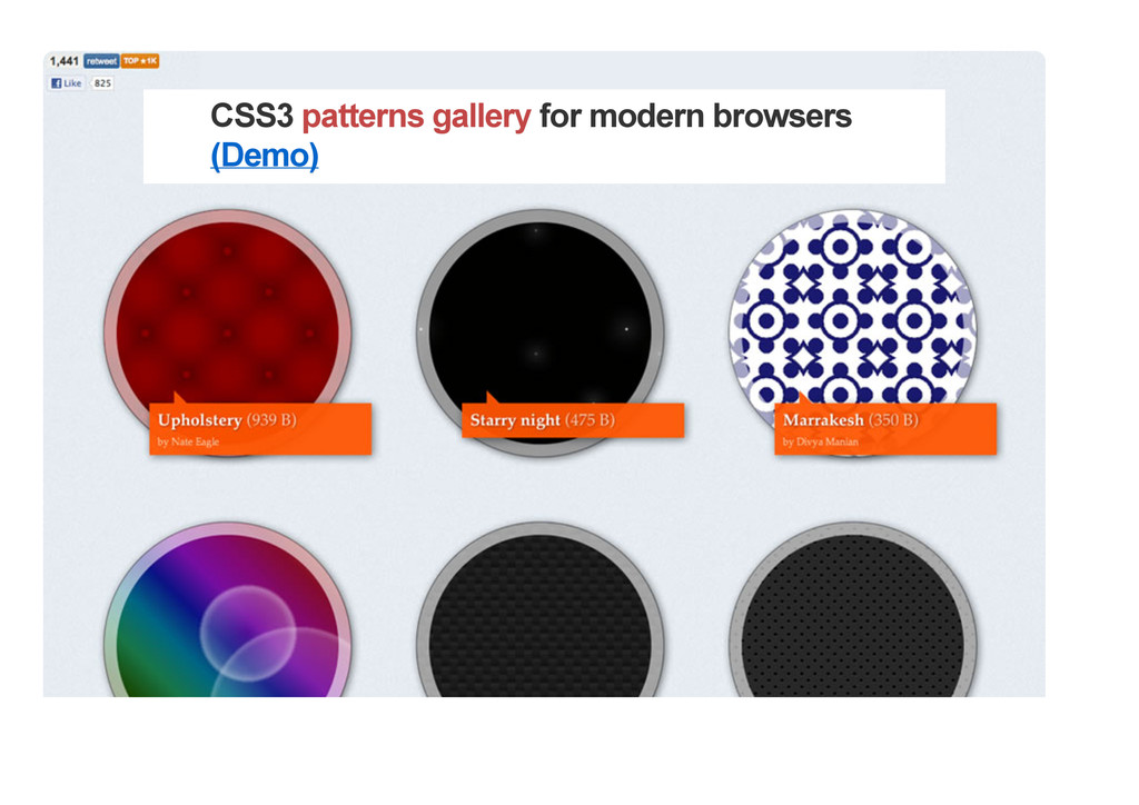 CSS3 patterns gallery for modern browsers (Demo)