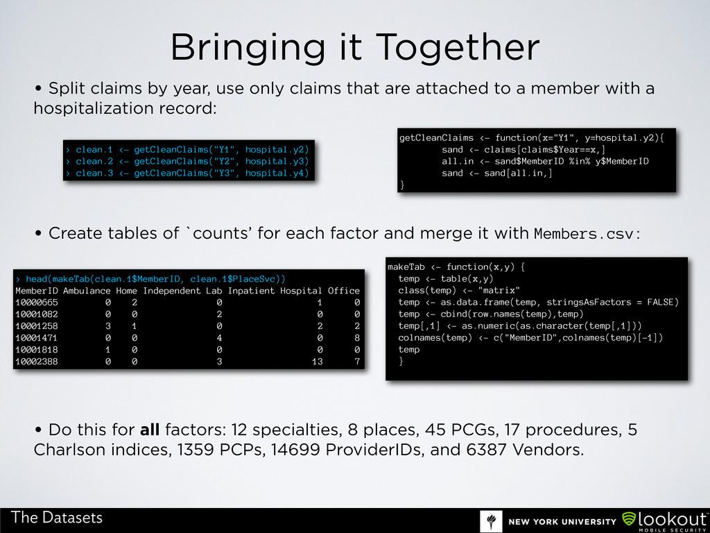 Bringing it Together The Datasets • Split claim...