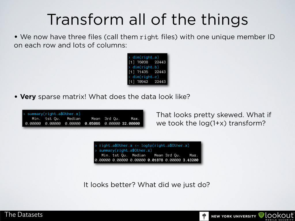 Transform all of the things The Datasets • We n...