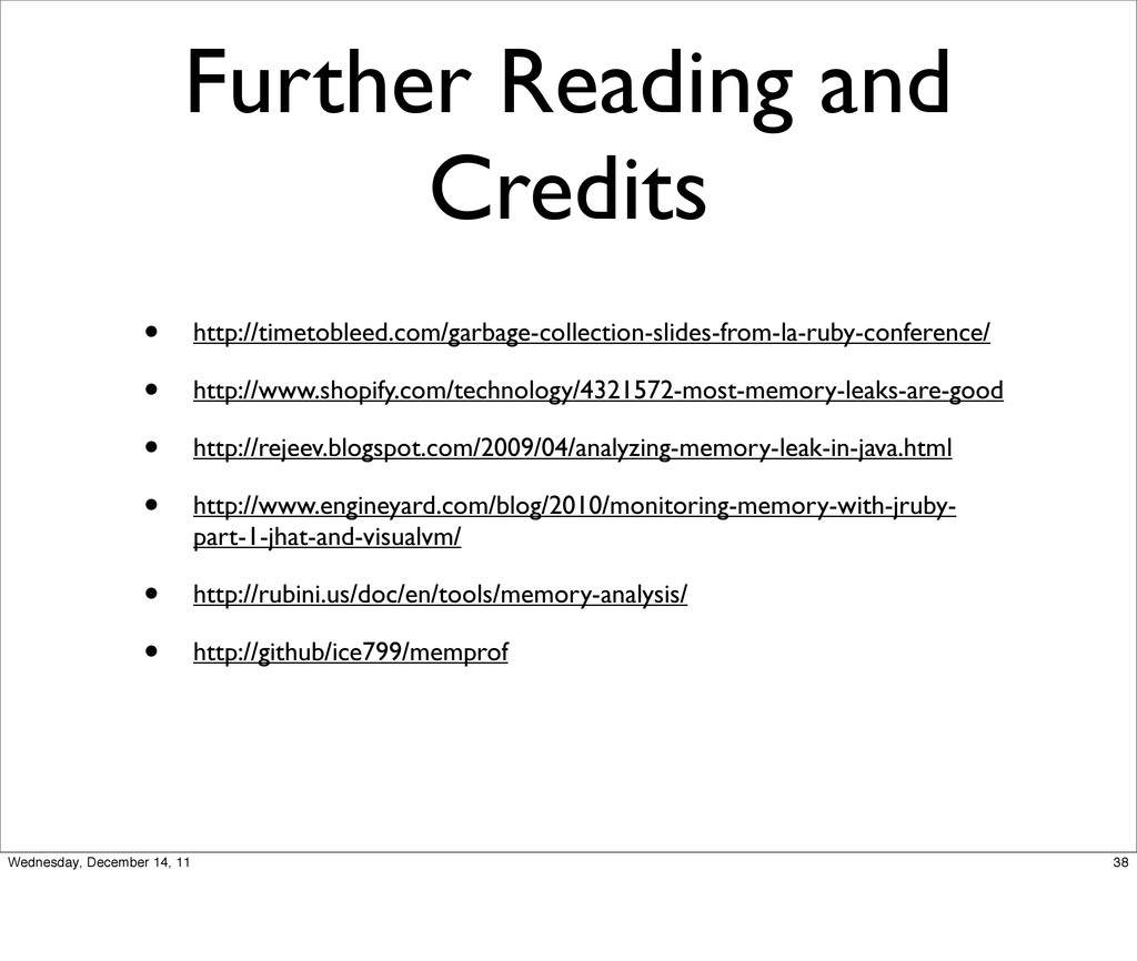 Further Reading and Credits • http://timetoblee...