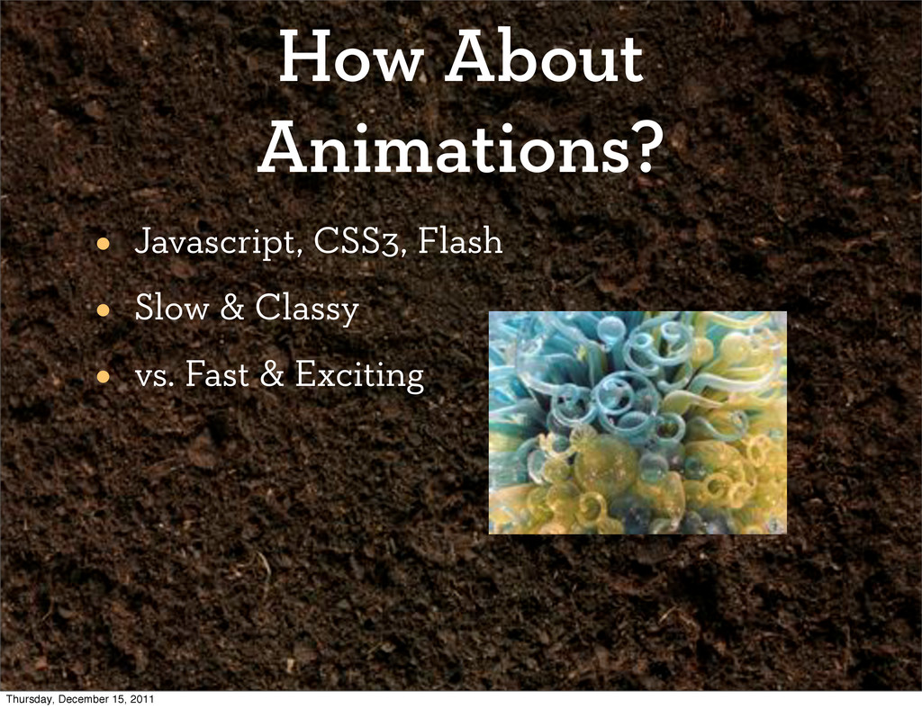 How About Animations? • Javascript, CSS3, Flash...
