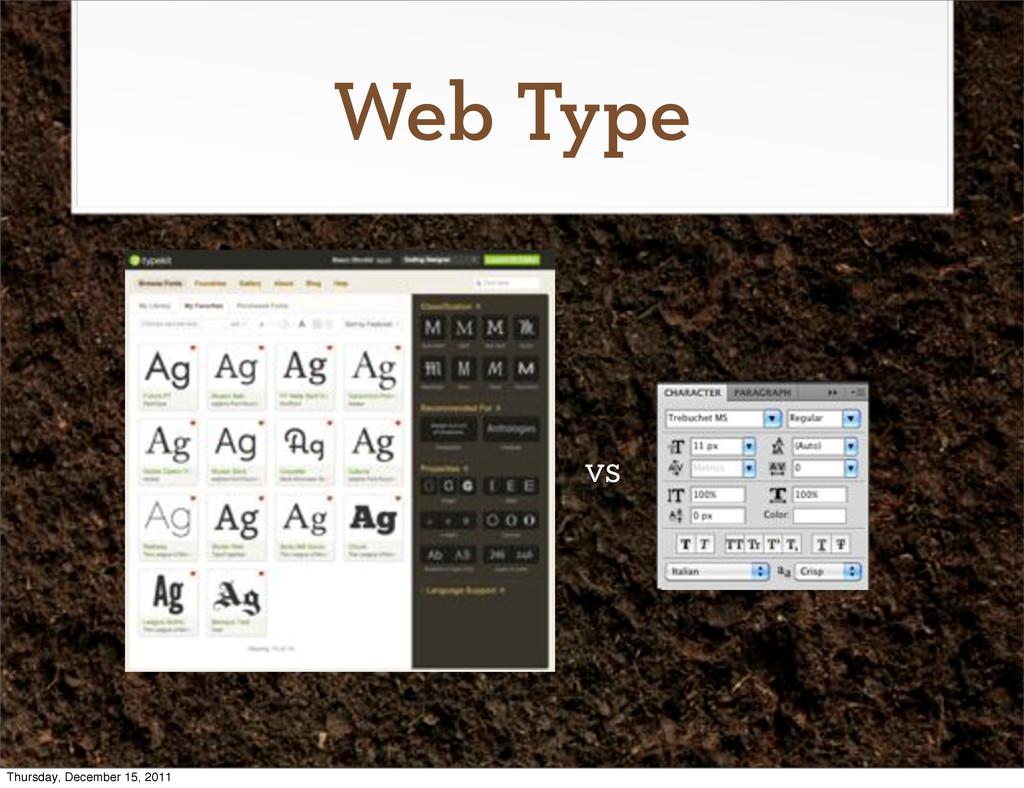 Web Type vs Thursday, December 15, 2011